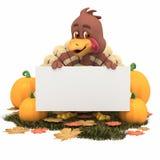 Acção de graças Turquia dos desenhos animados com sinal em branco Foto de Stock Royalty Free