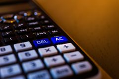 AC从一个科学计算器的键盘的所有还原键 免版税库存照片