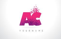 AC A.C.与桃红色紫色颜色和微粒小点Des的Letter Logo 免版税库存图片