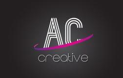 AC A.C.与线设计和紫色Swoosh的Letter Logo 免版税库存图片