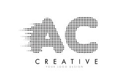 AC A C Letter Logo with Black Dots and Trails. stock illustration