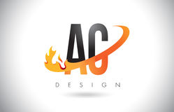 AC A C Letter Logo with Fire Flames Design and Orange Swoosh. AC A C Letter Logo Design with Fire Flames and Orange Swoosh Vector Illustration Royalty Free Stock Photography