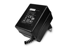 AC/DC adapter. AC/DC power adapter isolated black on white background Stock Photography
