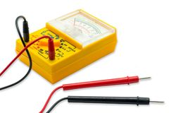 AC DC Analog Multimeter. Yellow AC DC Analog Multimeter on white background stock photography