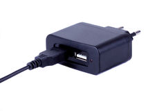 AC-DC USB adapter with microUSB cable Stock Photo