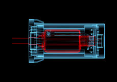 AC Electric motor (3D xray red and blue transparent). AC Electric motor (3D xray red and blue transparent isolated on black background Stock Photography
