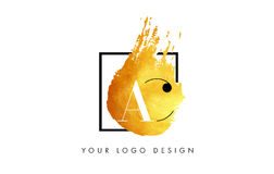 AC Gouden Brief Logo Painted Brush Texture Strokes Royalty-vrije Stock Afbeelding