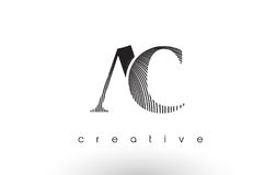 AC Logo Design With Multiple Lines and Black and White Colors. AC Logo Design With Multiple Lines. Artistic Elegant Black and White Lines Icon Vector royalty free illustration