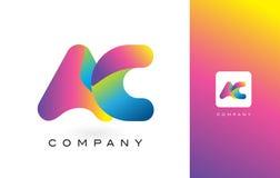 AC Logo Letter With Rainbow Vibrant Mooie Kleuren Kleurrijk t Royalty-vrije Stock Afbeelding