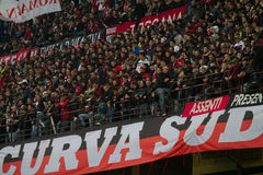 Ac Milan Curva Sud. A shot of Ac Milan Curva Sud Supporter San Siro stadium in Milan Italy Royalty Free Stock Photos