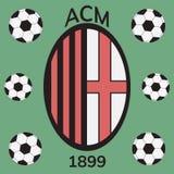 Football sign of AC Milan. AC Milan emblem. Flat  stock illustration Royalty Free Stock Photography