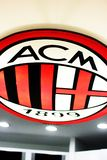 AC Milan logo at San Siro museum. AC Milan football club logo on the ceiling in the museum at San Siro stadium in Milan, Italy stock photo