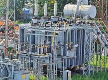 AC substation high voltage Royalty Free Stock Photos