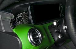 AC wentylaci pokład w Luksusowym nowożytnym Samochodowym wnętrzu Nowożytny samochodowy inAC wentylaci pokład w Luksusowym nowożyt Obrazy Stock