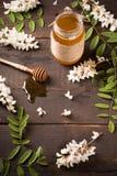 Acacia honey and flowering acacia Royalty Free Stock Photos