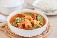 Acacia leave omelet and shrimp in sour soup and rice, Thai food Stock Photo