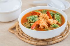 Acacia leave omelet and shrimp in sour soup, Thai food Royalty Free Stock Photos