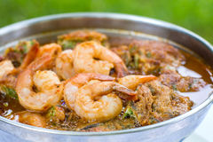 Acacia Leave Omelet and Shrimps in Spicy Tamarind Flavored Soup. Stock Image