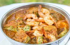 Acacia Leave Omelet and Shrimps in Spicy Tamarind Flavored Soup. Royalty Free Stock Photo