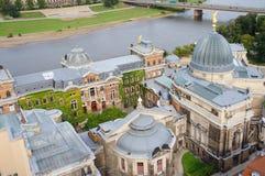 Academia de arte en Dresden y el río Elba Foto de archivo libre de regalías