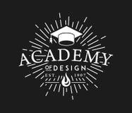 Academia de blanco del diseño en negro stock de ilustración