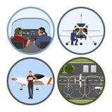 Academia del entrenamiento de vuelo Reparación y mantenimiento de los aviones Un vuelo plano sobre un campo de aviación ilustración del vector