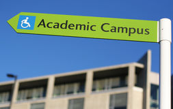 Academic. A sign points the way towards a new university campus Royalty Free Stock Photography