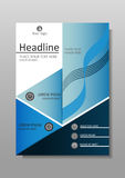 Academic book cover design. Journals, conferences, articles. Vector. Blue A4 Business Book Cover Design Template. Good for Portfolio, Brochure, Annual Report Stock Photo