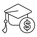 Academic cap with dollar sign. linear icon. Outline design.  Stock Image
