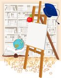 Academic cap and easel. Square academic cap and easel Royalty Free Stock Image