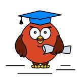 Academic cartoon owl. Vector illustration Royalty Free Stock Photography