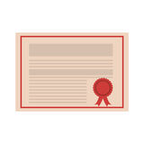 Academic certificate icon. Academic certificate with red seal stam icon over white background. vector illustration Stock Photography