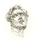 Academic drawing antique gypsum head Royalty Free Stock Images