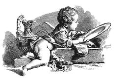 Academic drawing. Child Royalty Free Stock Image
