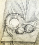 Academic drawing of a fruit and a plate Royalty Free Stock Photography