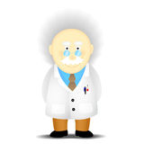Academic. An elderly scholar academician in a white coat Royalty Free Stock Photo