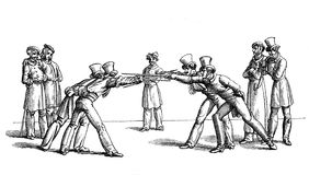 Academic fencing, Germany XVIII century. XVIII century, students dueling, very popular activity in Germany, a way to showing courage and prowess Stock Photo