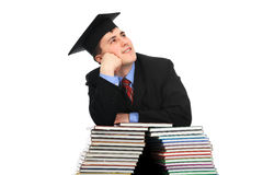 Academic future. Portrait of a young man in an academic gown. Educational theme Stock Photo