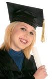 Academic girl Graduate's. Lovely girl holding diploma as she graduate's on white background Stock Images