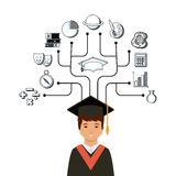 Academic graduation design. Cartoon graduate man and academic icons around over white background. colorful design. vector illustration Royalty Free Stock Photo