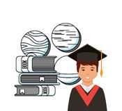 Academic graduation design. Cartoon graduate man and stack of academic books icon over white background. colorful design. vector illustration Stock Images