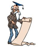 Academic  historian study old paper cartoon illustration Royalty Free Stock Images
