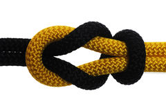 Academic knot of black and yellow rope. Isolated on white background Royalty Free Stock Images
