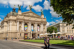 Academic Opera and Ballet Theatre in Lviv, Ukraine. Stock Photos
