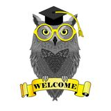 Academic owl with banner welcome Stock Images