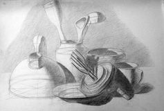 Academic still life drawing with a pencil Royalty Free Stock Image
