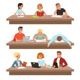 Academic students in learning process set, young people reading books and studying hard before the exam vector. Illustrations isolated on a white background vector illustration