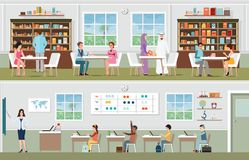 Academic students at the library and teacher with pupils in the. Classroom, school and education conceptual vector illustration Royalty Free Stock Image
