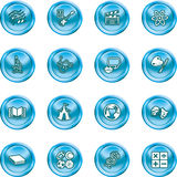 Academic study subject icons. A subject category icon set eg. science, maths, language, literature, history, geography, musical, physical education etc Stock Photo