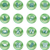 Academic study subject icons. A subject category icon set eg. science, maths, language, literature, history, geography, musical, physical education etc Royalty Free Stock Photo